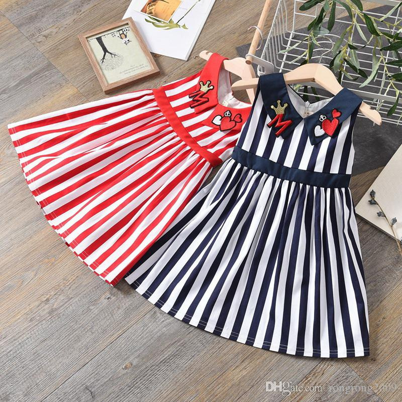 Wholesale Girls Dress 2019 Summer New Striped Love Heart Collar Sleeveless Princess Kids Dressess for Girls Baby Clothes E9055