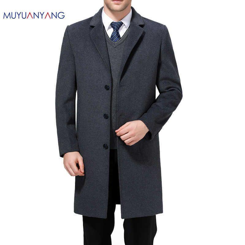 a6bc4f93367 2019 Mu Yuan Yang X Long Jackets Casual Mens Wool Blend Suit Collar Coats  Full Winter For Male Wool Long Overcoat Cashmere 3xl 4xl J190417 From  Babala3