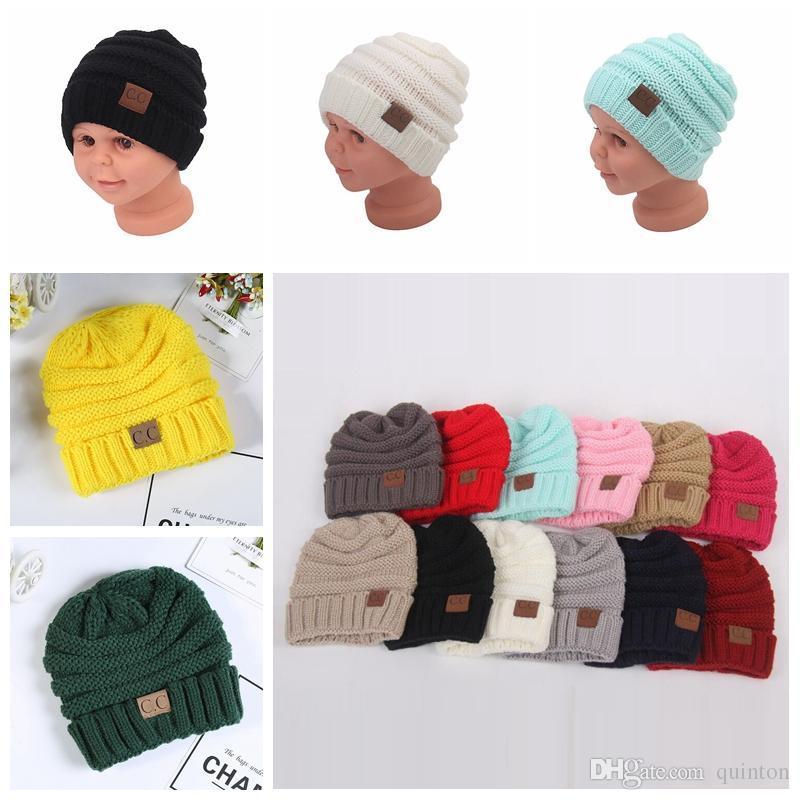 Compre Chapéus Do Bebê CC Trendy Beanie Crochet Moda Gorros Ao Ar Livre  Chapéu De Inverno Recém Nascido Beanie Crianças Tampas De Malha De Lã  Quente Beanie ... 17948b6acc2