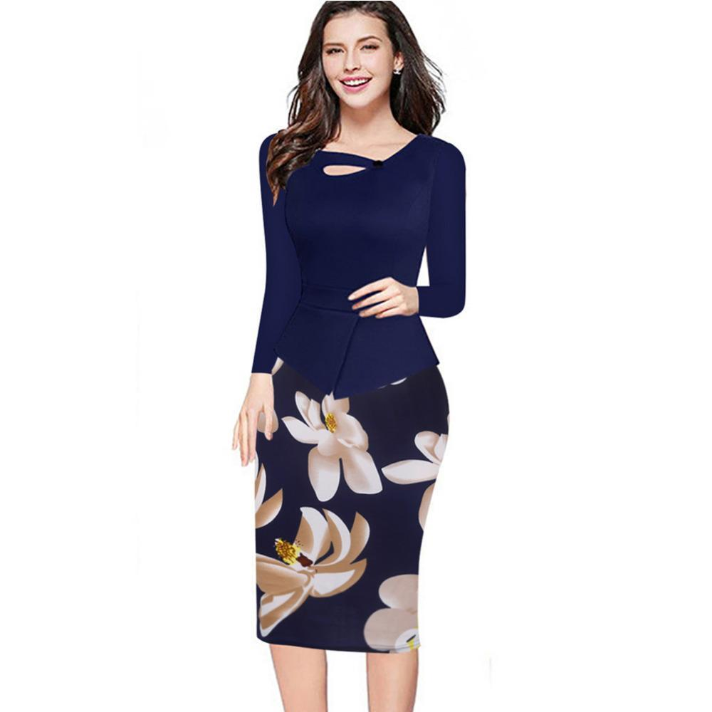 90d79d8192348 Fall Winter Women Floral Print Patchwork Working Sheath Full Sleeve Bodycon  Office Wear Plus Size 4XL 5XL Pencil Dress Online with  60.08 Piece on  Quhai s ...