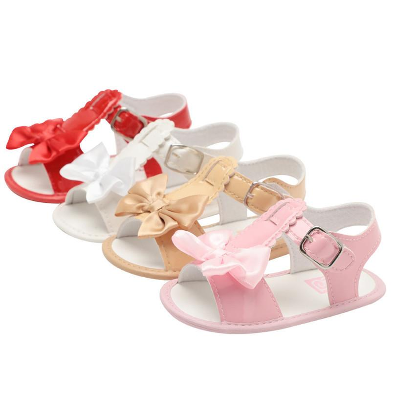 Summer Baby Sandals Toddler Infant Baby Girl Bowknot Crib Shoes Soft Sole Anti-slip Single Shoes Sandals Baby Girl Shoes M8Y30#F