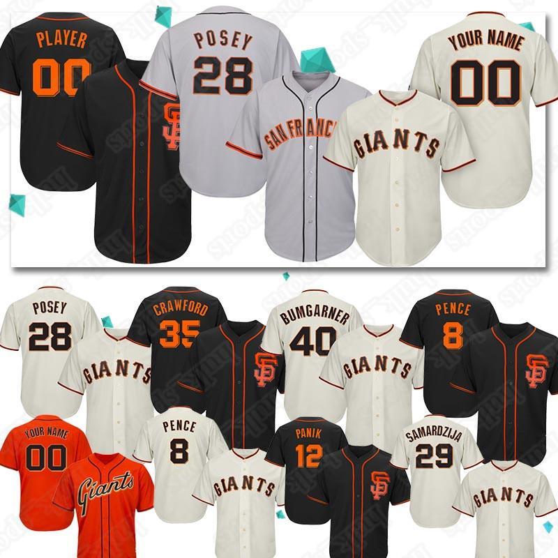 quality design 4e3fd 84e2a Custom jerseys San Francisco 40 Madison Bumgarner 28# jerseys Giant 35  Brandon Crawford jersey 22 Will Clark Baseball Jerseys