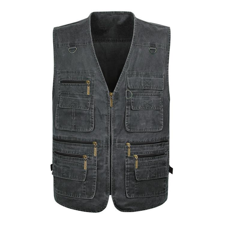 Summer Boys Outerwear Casual Mens Denim Jacket Large Size Sleeveless Cotton Grey Vest Male Tactical Vest Fishing 6xl 7XL