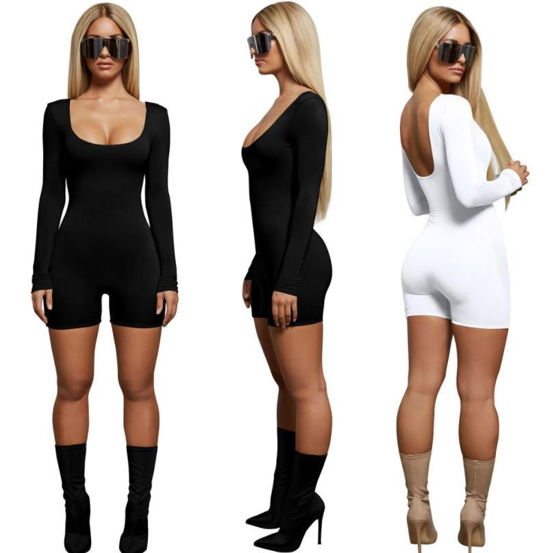 Solid Color Playsuits Women Clothes Summer Slim Fit Sexy Black White Fashion Casual Jumpsuits One Piece Suits