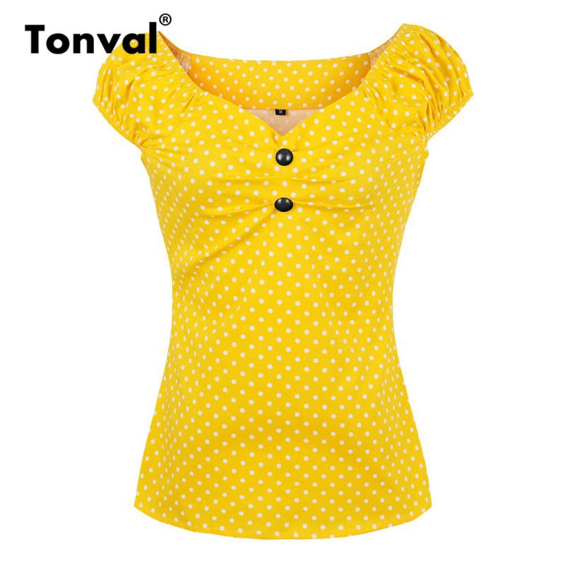 Tonval Cotton Dotted Vintage Blouse Shirt Women Off Shoulder Sexy V Neck Cap Sleeve Summer Tops Yellow Office Blouses Y19042902