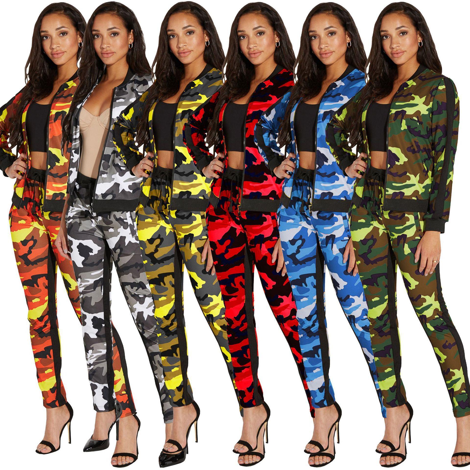 Acquista Donna Camo 2 Pezzi Imposta Pantaloni Abiti Lady Zipper Manica  Lunga Giacca Coulisse Pantaloni Lunghi Pantaloni Casual Due Pezzi Pantaloni  A  19.1 ... 37f716c9636