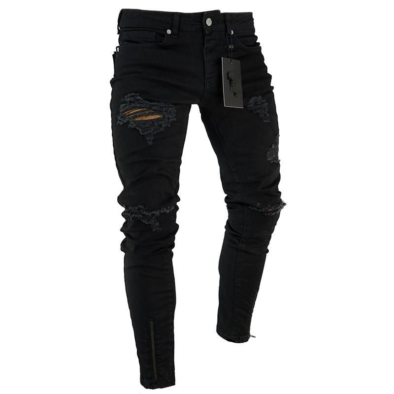 Mens fashion skinny jeans distressed hollow summer zipper tight-fitting bicycle riding pants hip-hop casual long mens jeans free shipping