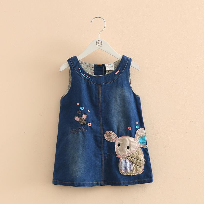 Baby O-neck Cartoon Mouse Embroidery Denim Newborn Infant Kid Girls Vest Jean Dress Autumn Clothing Vestido Q190518
