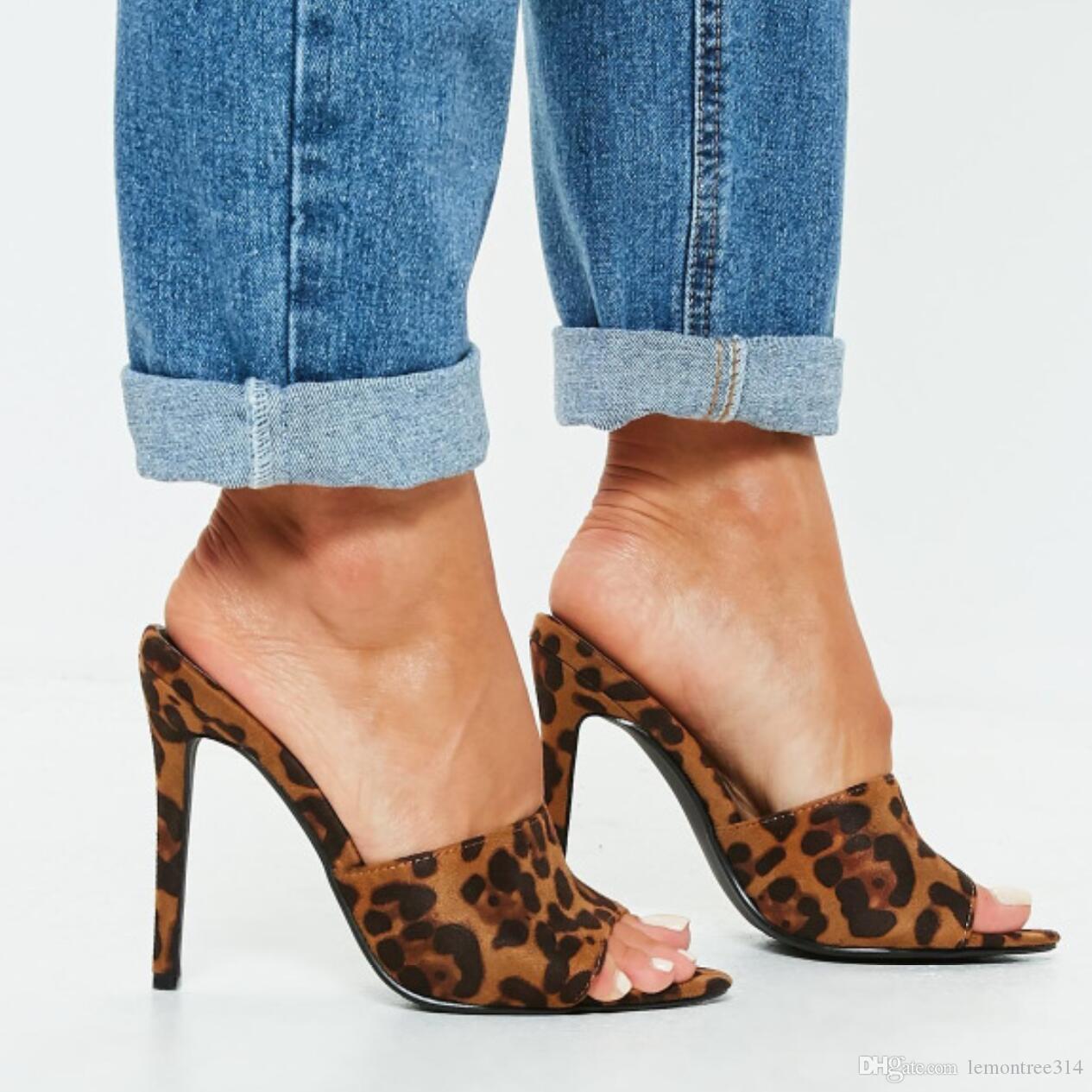 baratas para descuento 8f405 3691d Mujeres sexy sandalias de leopardo de señora tacones altos peep toe  zapatillas de gamuza bombas partido de noche zapatos de deslizamiento en  stilettos ...