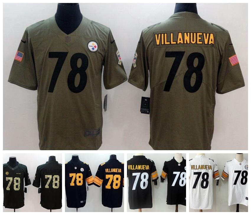official photos 0c56a a185d Mens 78 Alejandro Villanueva Jersey Pittsburgh Steelers Football Jerseys  Stitched Embroidery Alejandro Villanueva Color Rush Football Shirt