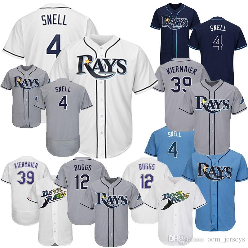 newest 8cb4c 5dee6 Tampa Bay 4 Blake Snell 12 Wade Boggs 39 Kevin Kiermaier 2019 Rays Jersey  Size S-4XL