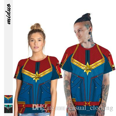 Quick-sell new product Marvel Captain Digital Printed Couple Dress T-shirt Sports Loose Blouse Wholesale