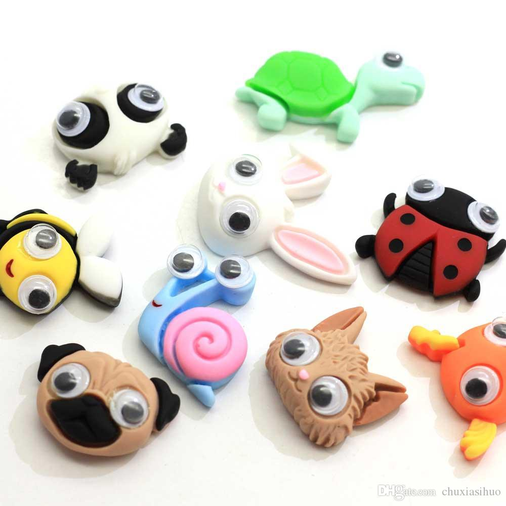 Assorted Cartoon Animal Resin Cabochons Flatback Plastic Charms Hair Clip Hairpin DIY Craft Jewelry Decoration with Googly Wiggl