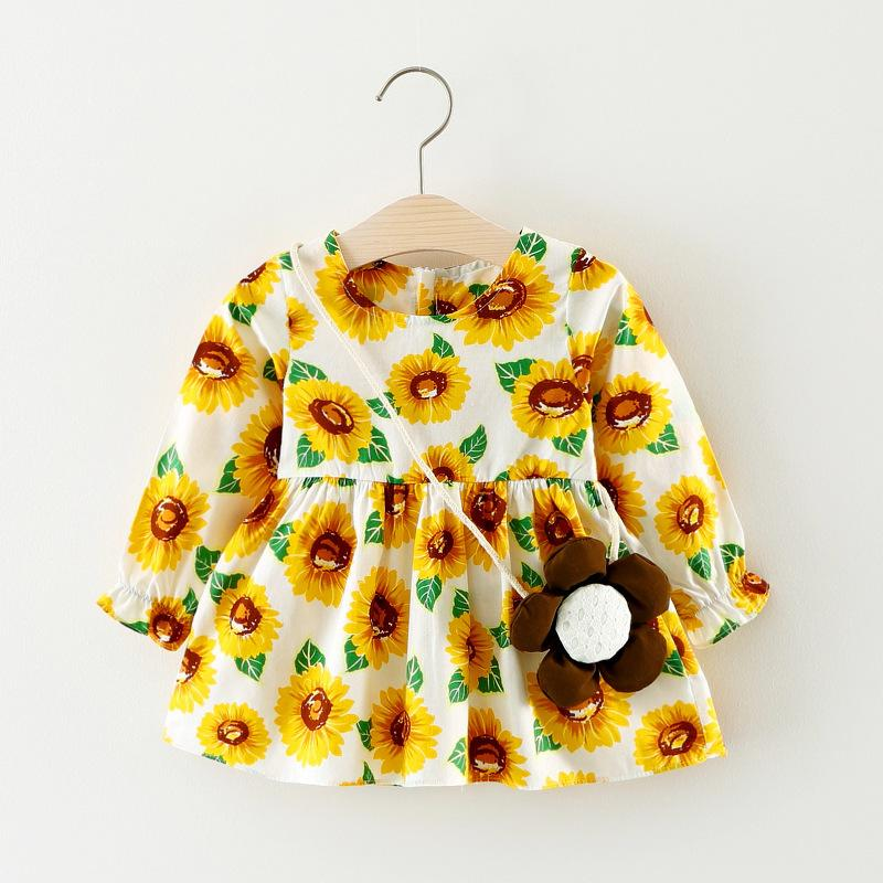 spring autumn children cotton clothing dress fashion girls dress long sleeve floral kids lace clothes Princess baby girls dress