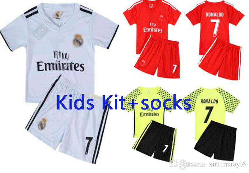 5c6c2dfec 2019 Real Madrid Home Kids White Soccer Jersey 18 19 Madrid Boys Away Soccer  Shirt 2019 KROOS ISCO ASENSIO BALE Third Red Football Uniform 3rd From ...