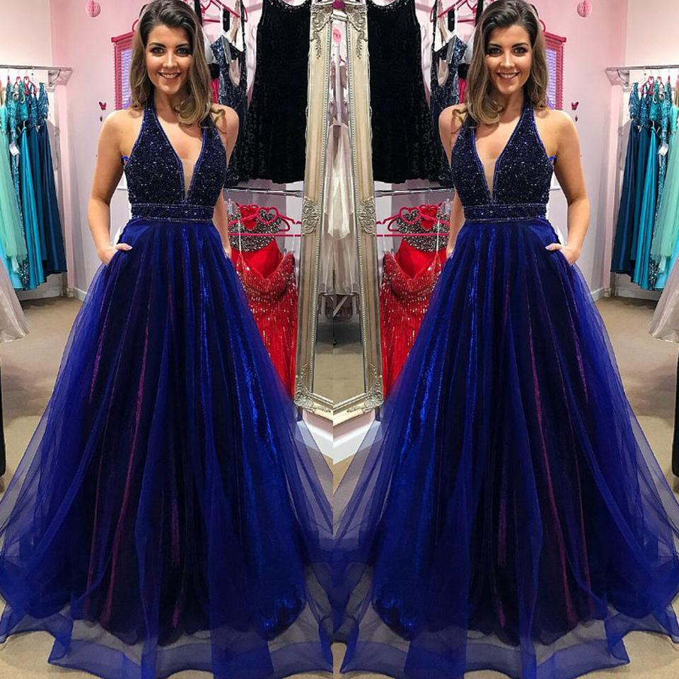 9f4965ccddbbc Navy Blue Plus Size Prom Dresses 2019 A Line Heavily Beads Deep V Neck Long  Formal Dress Evening Gown Robe De Soiree DP0321 Amazing Prom Dresses  Backless ...