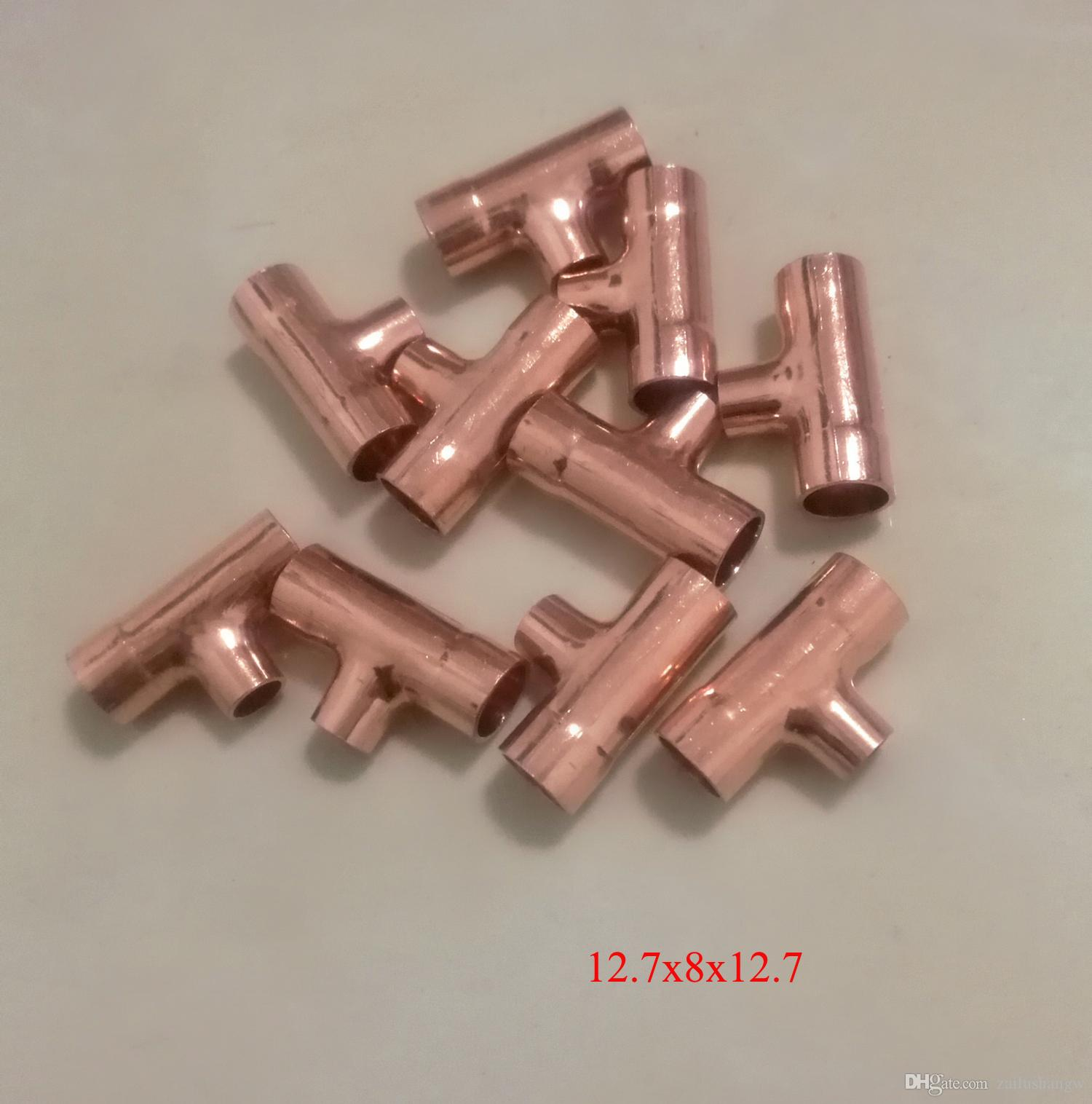 Head Inner diameter: about 12.7mmx8mmx12.7mm Copper Reducing Tee Refrigeration Air condition Welding Pipe Fittings
