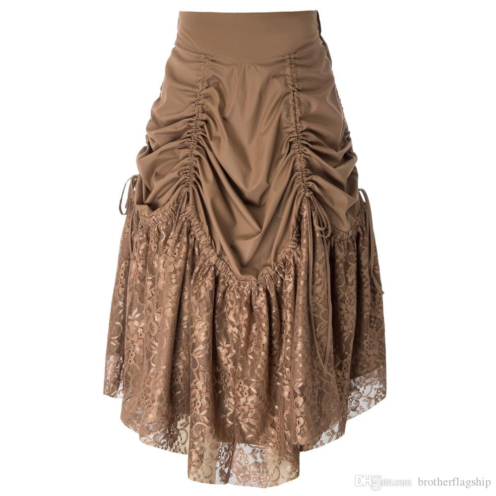71f5b92c18 Compre Faldas Largas Mujer Retro Vintage Gótico Victoriano Steampunk Encaje  Patchwork Falda Acanalada A  49.25 Del Brotherflagship