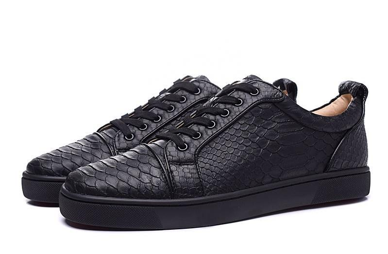 00d4256c0c6a MFF998A Size 35 46 Men Women Black Snake Print Leather Low Top Lace Up  Fashion Red Bottom Sneakers
