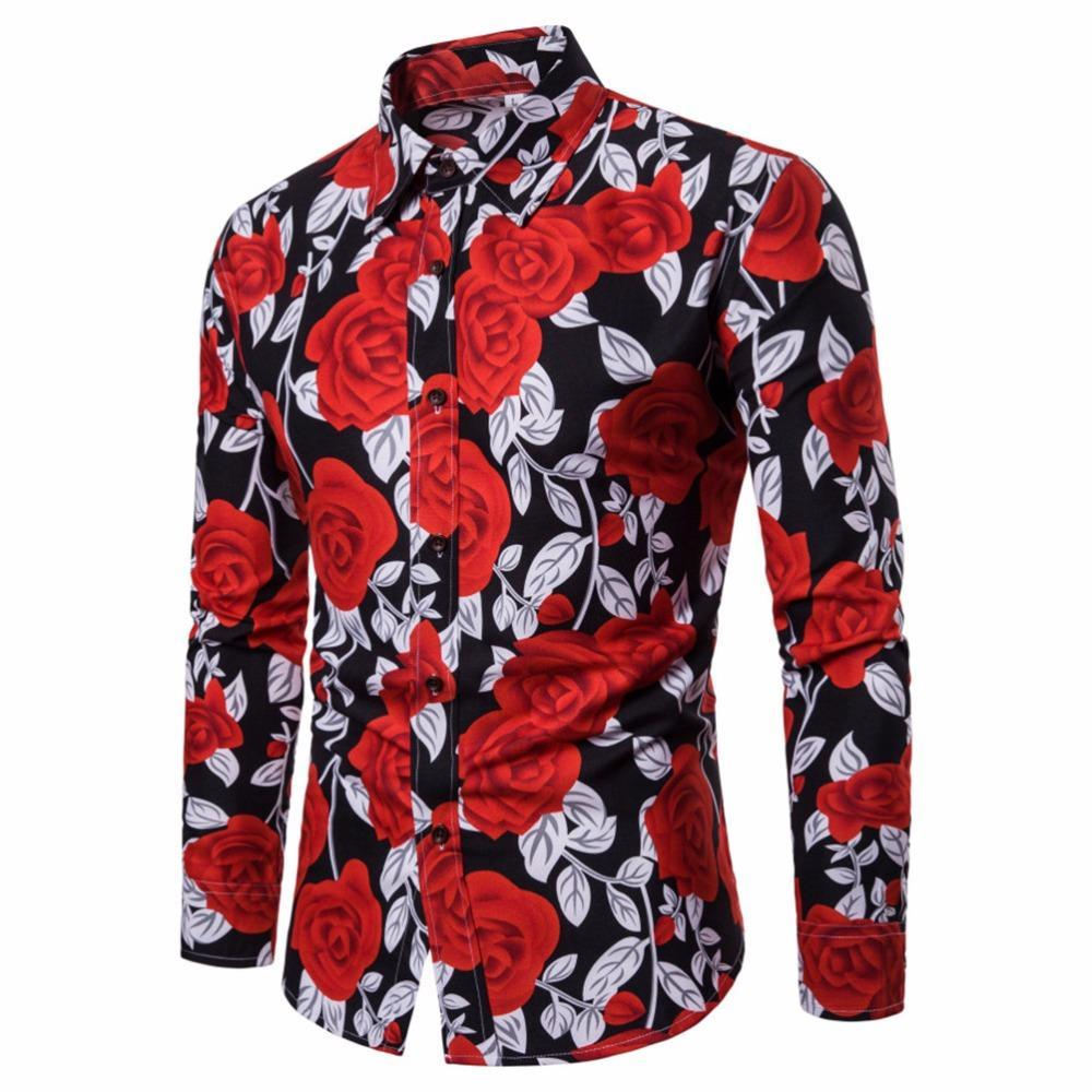 2018 New Mens Shirt Long Sleeve 3D Floral Print Slim Fit Long Sleeve Casual Button Down Fashion Dress Shirt Plus Size