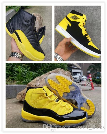newest collection 3986d 59449 New Retro Big Kids shoe 11 12 Mens Basketball Shoes Bumblebee Yellow Black  Trainers Sports Sneakers 1 11s 12s baskets Jumpman des chaussures