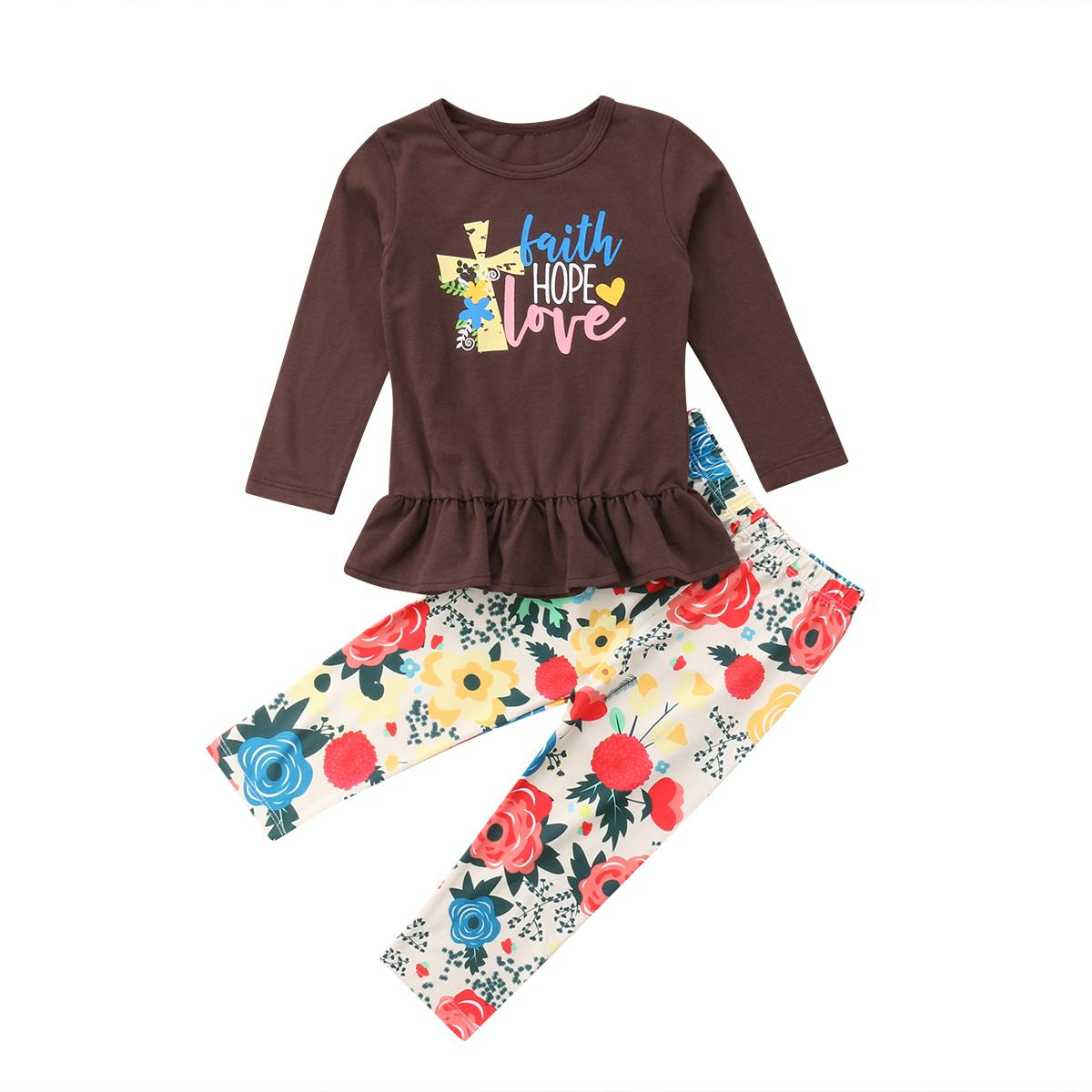 496b18da79f90 Toddler Baby Girl Thanksgiving Floral Clothes Brown Long Sleeves Tops  Shirts Floral Long Pants Autumne Set Outfits