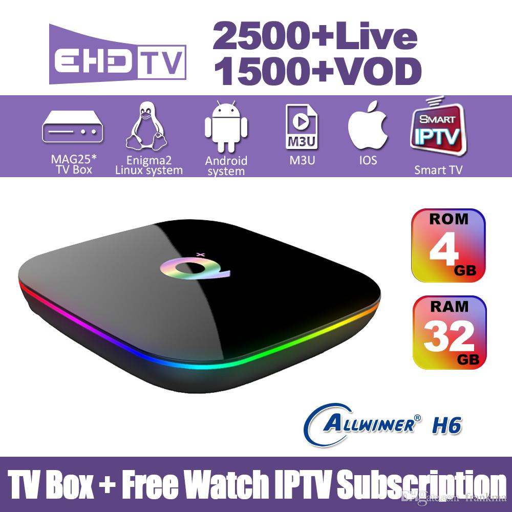 Subscribe IPTV Android 9 0 TV Box With 12 months live tv subscription Q  Plus Smart iptv set top box suit for Europe countries Arabic India