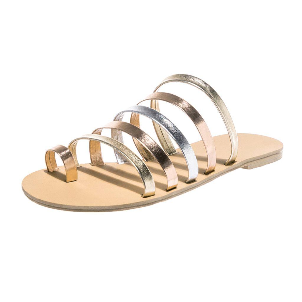 KLV NEW Women S Sandals 2019 Ladies Spring Summer Flat Heel Strap Slippers  Beach Sandals Roman Chaussures Femme Ete Bascket  89 Blue Shoes Cheap  Sandals ... 9303619f0d10