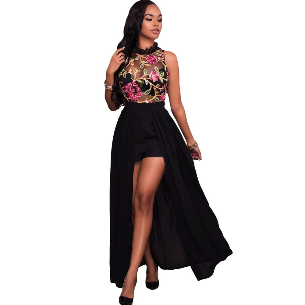 2c44a2a52c 2019 Sexy Women Long Jumpsuit Sheer Mesh Floral Embroidery Sleeveless Maxi  Skirt Short Chiffon Overall Romper Elegant Casual Playsuit From Bibei02