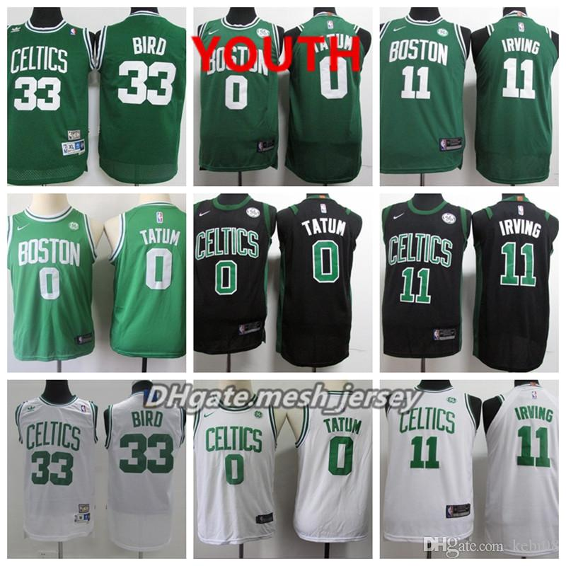2bd341f6fba 2019 Youth Boston Jersey Celtic Kyrie Irving Jayson Tatum Jaylen Brown  Larry Bird Stitched Baketball Jersey Black White Green From West virginia