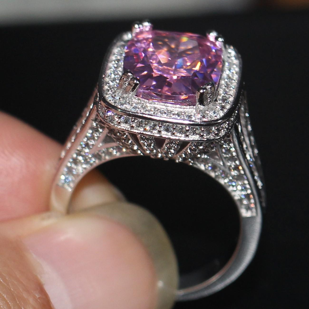 2019 10CT Big Pink Sapphire Luxury Jewelry 14kt White Gold Filled 192PCS Pave Tiny Zirconia Diamond Party Women Wedding Band Ring Ustore8