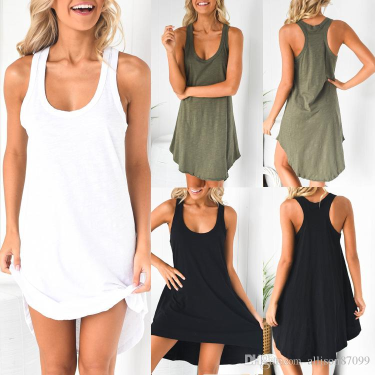 European USA Women Casual clothing U Scoop neck Dress Sleeveless Tank Dresses Cotton 2019 Summer Free DHL