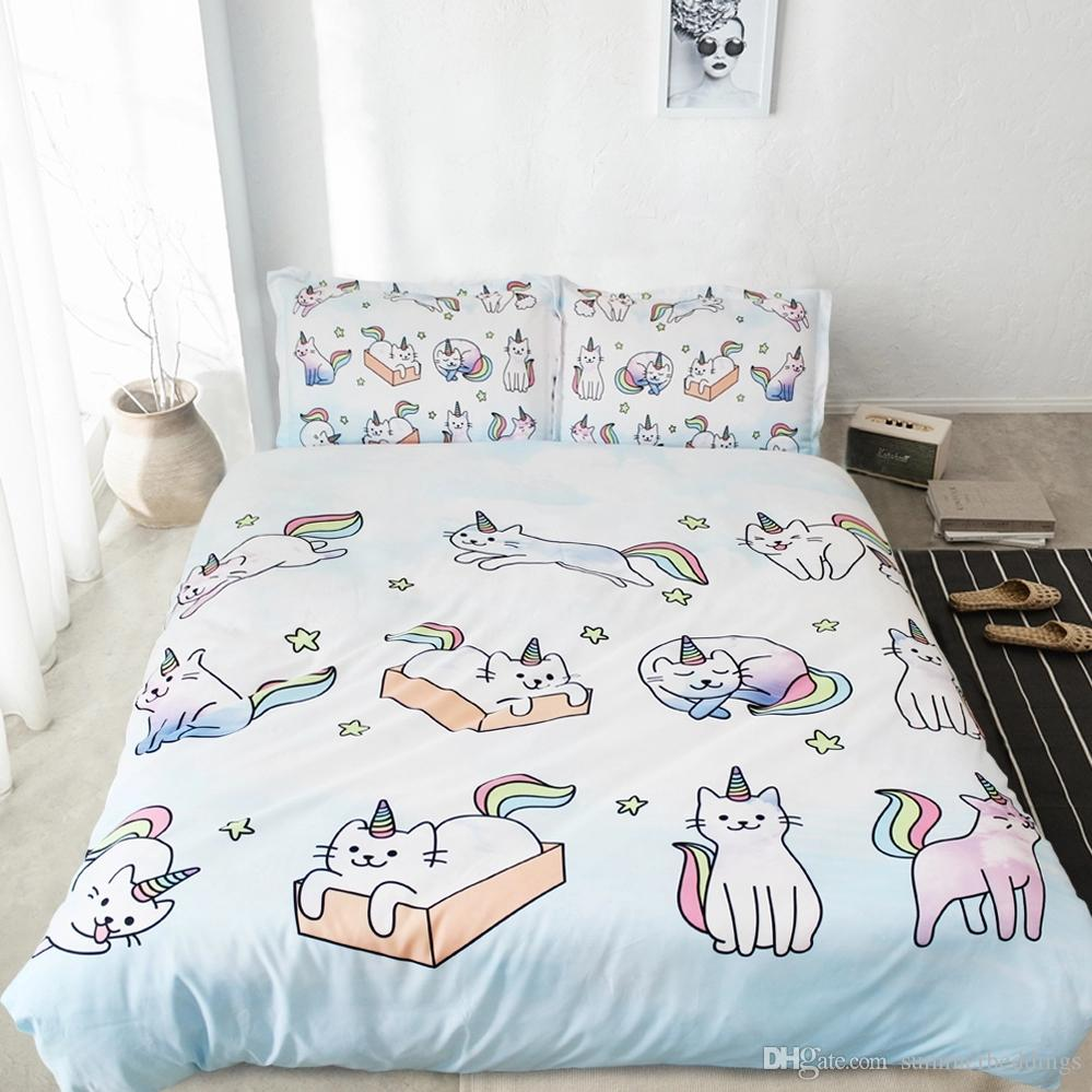 Girls Boys Star Duvet Set Cat Twin Bedding Sets With 2 Pillowshams