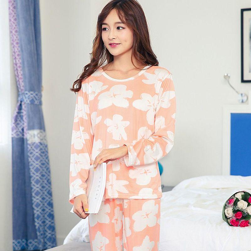 Cute Women Pajamas Set Pyjama Femme 2019 Spring Simple Design Casual Home  Clothes Long Sleeve Sleepwear Suit Pajama Sets Cheap Pajama Sets Cute Women  ... cd3a9198f