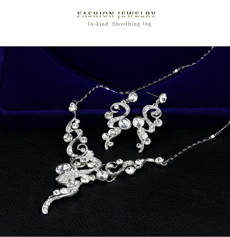 danbihuabi 2018 Elegant Bridal Wedding Jewelry Sets White K Rhinestone Necklace Earrings Costume Jewelry Sets for Women Gifts