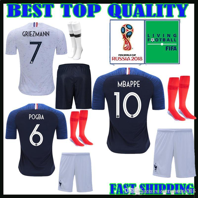 2019 Adult Kit World Cup 2018 French 2 Star Soccer Jerseys GRIEZMANN MBAPPE  10 HOME POGBA AWAY 18 19 KANTE GIROUD TOLISSO Men Set FOOTBALL SHIRTS From  ... 548c192b2