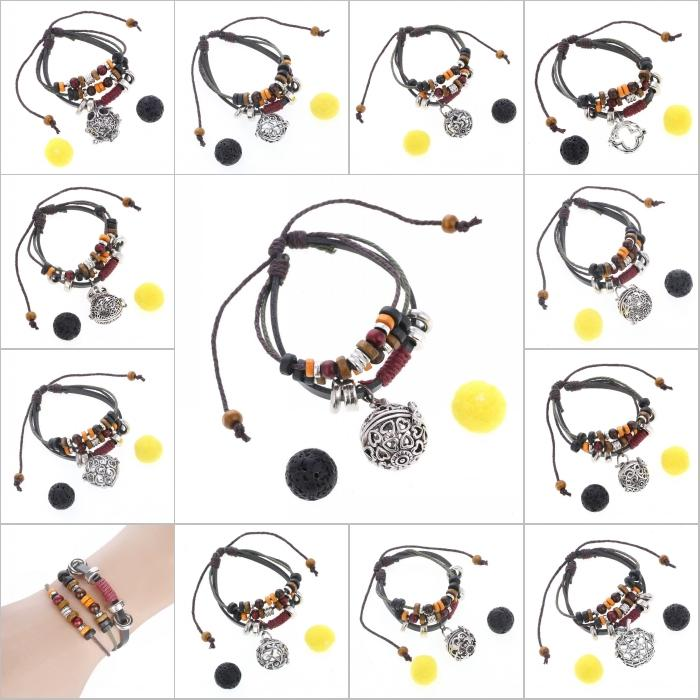 Free DHL Perfume Diffuser Bracelet Fashion Lava Stone Essential Oil Diffuser Locket Jewelry Cage Pendant For Women Gilrs Adjustable B385Q Y