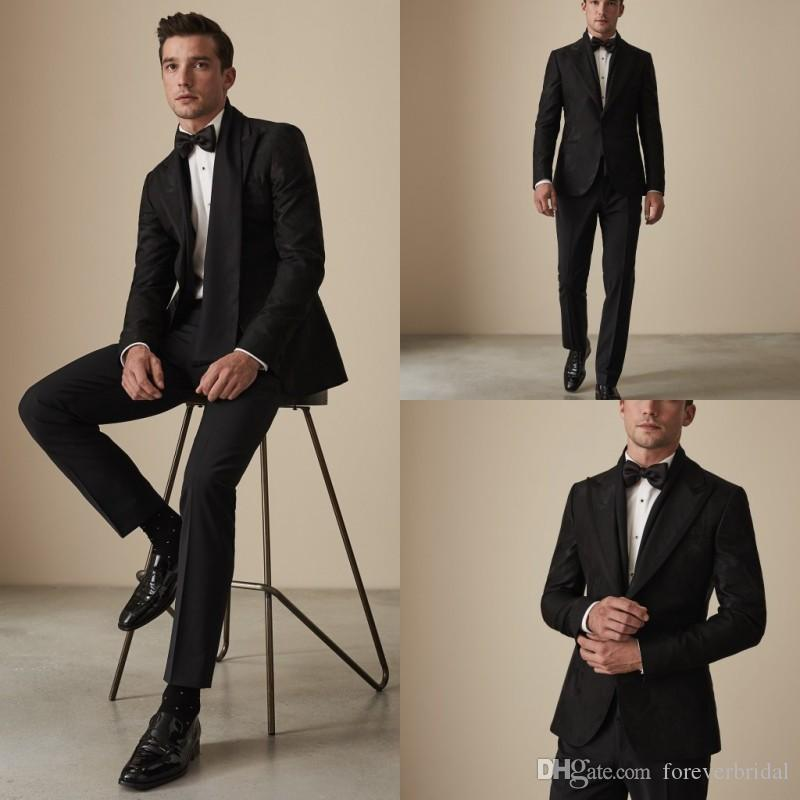Black Floral Pattern Groomsmen Wedding Tuxedos 2019 Peaked Lapel Two Button Mens Pants Suits Handsome 2 Pieces Formal Best Men Blazer