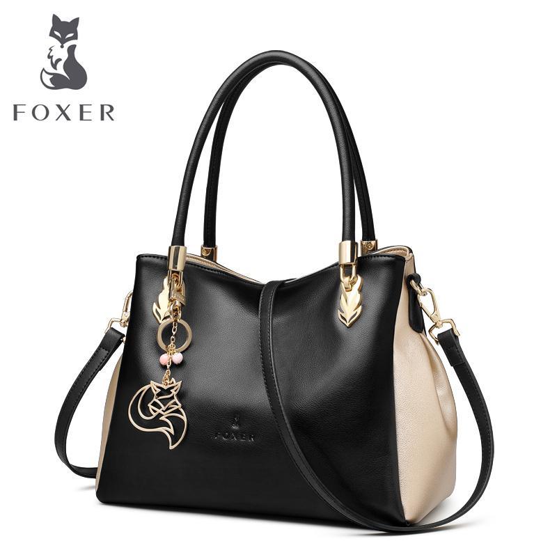 fc77f70fe6 2019 Fashion FOXER Brand Women Genuine Leather Handbag Casual Tote Shoulder  Bag Female Fashion Handbags Ladies Leather Crossbody Bag Cheap Designer  Handbags ...