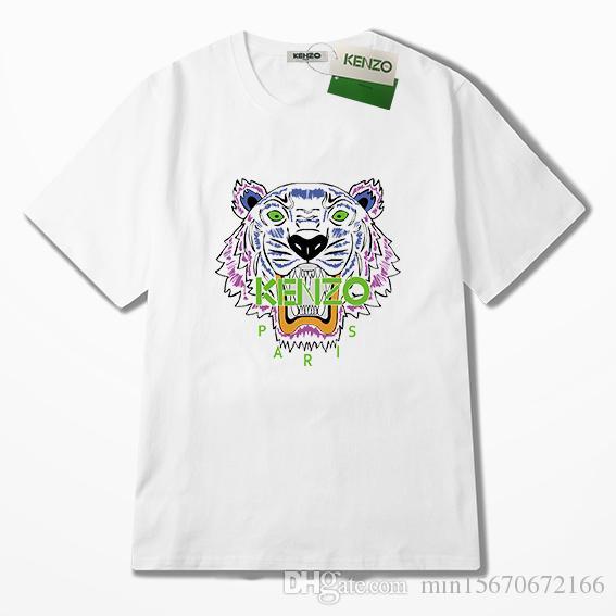 555b140e3 New Fashion Unisex Summer T Shirt Women Tops Tiger Head Letter Print ...