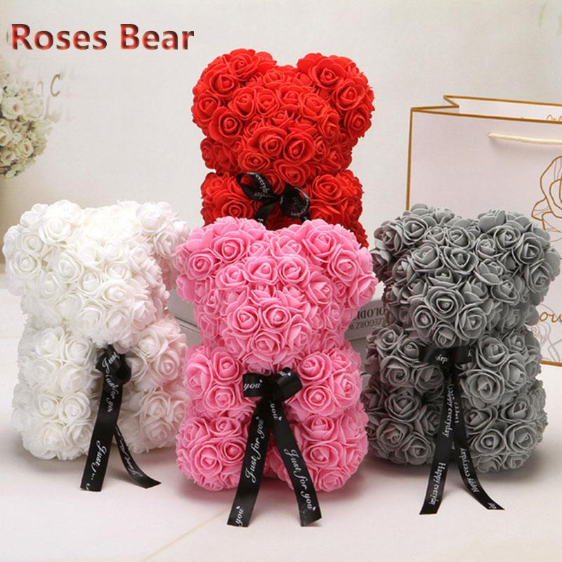 Artificial Flowers Rose Bear Girlfriend Anniversary Christmas Valentines Day Gift Birthday Present For Wedding Party Decoration