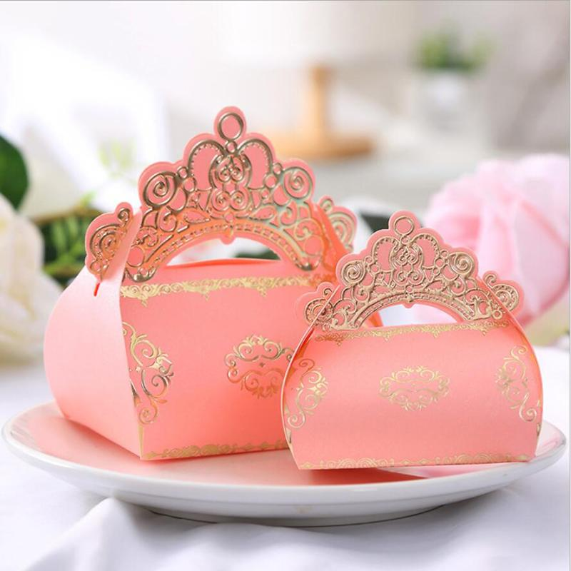 Sweet Love Pink Princess Gold Crown Wedding Favor Candy Box Birthday Party Baby Shower Baptism Gift Boxes 50 pieces lot