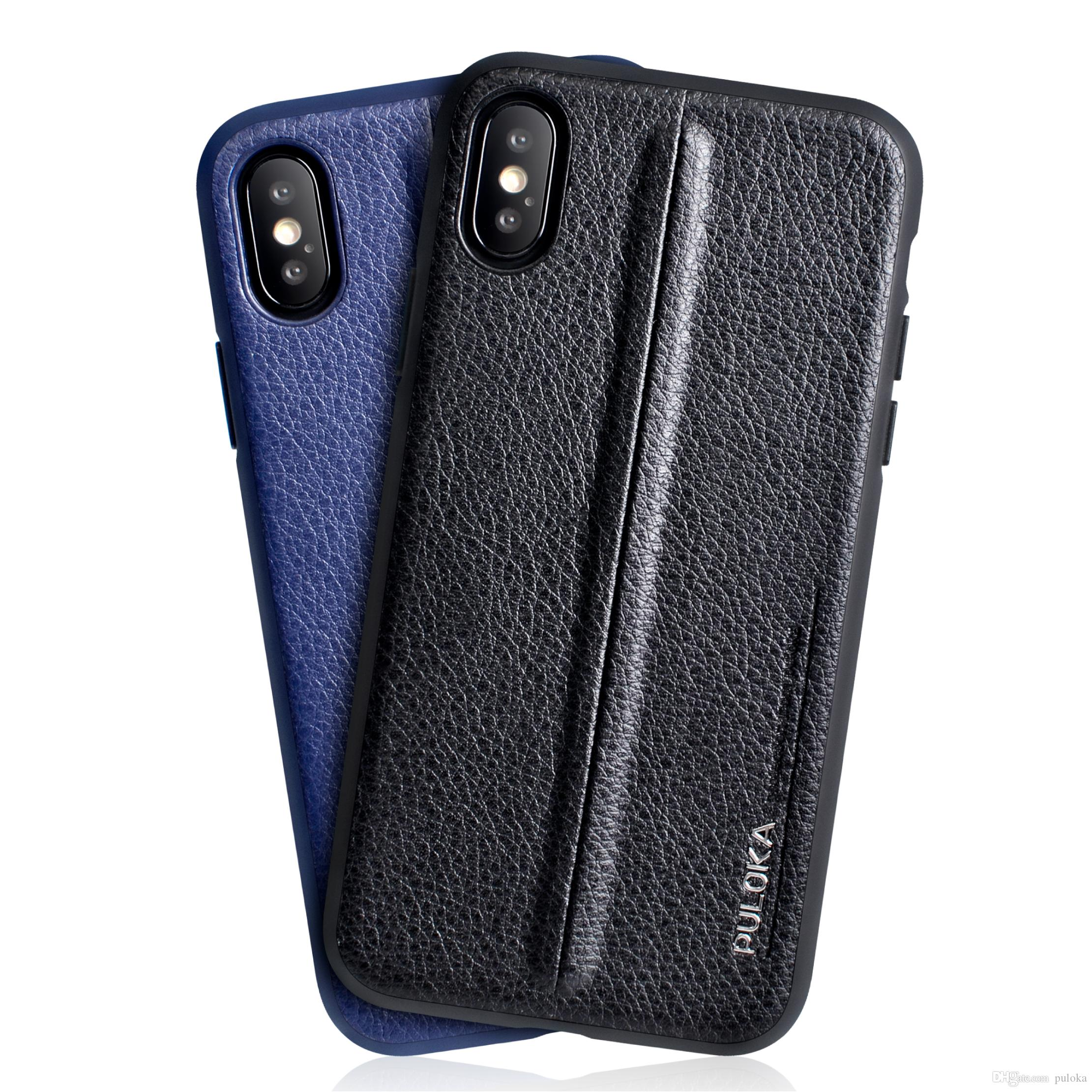 online store 8590c 25647 PULOKA Brand Simple PU Leather Mobile Phone Case Accessories Phone Case  Back Cover for Apple Samsung