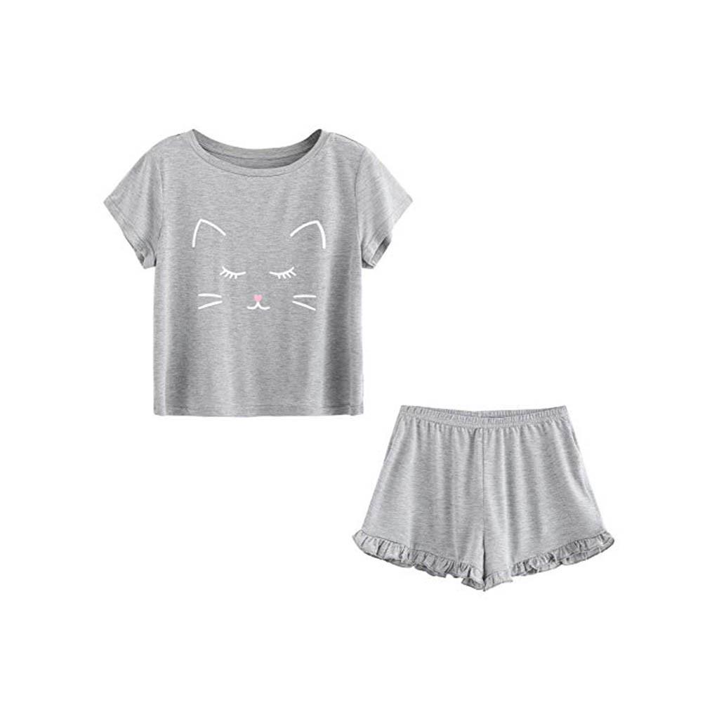 5316d312a0de 2019 Pajamas Women S Cute Nightwear Casual Cat Shorts Short Sleeve Ruffled  T Shirt Sleepwear Nightwear Set Sexy Lingerie From Cansou