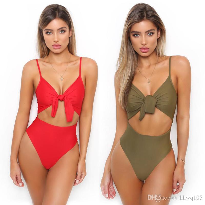 86f32d918c9 2019 Women Sexy Tie Knot Front Swimsuit Monokini Spaghetti Strap Cutout  High Waist One Piece Swimsuit Bikini Solid Beachwear Bathing Suit CCI0105  From ...