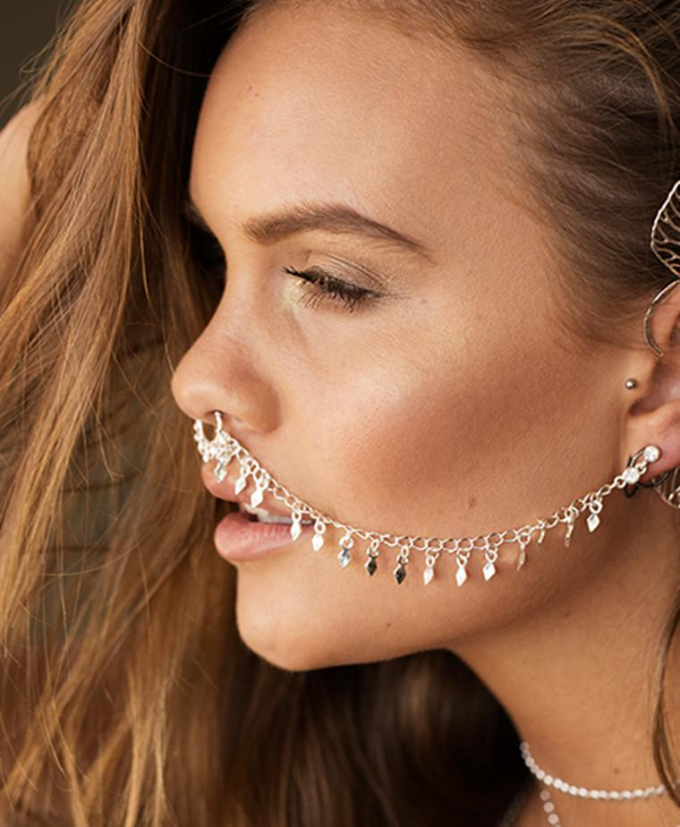 Punk Fake Nose Rings Studs With Long Chain Fake Septum Piercing Nose Hoop Ear Chain Women Party Dance Sexy Body Jewelry