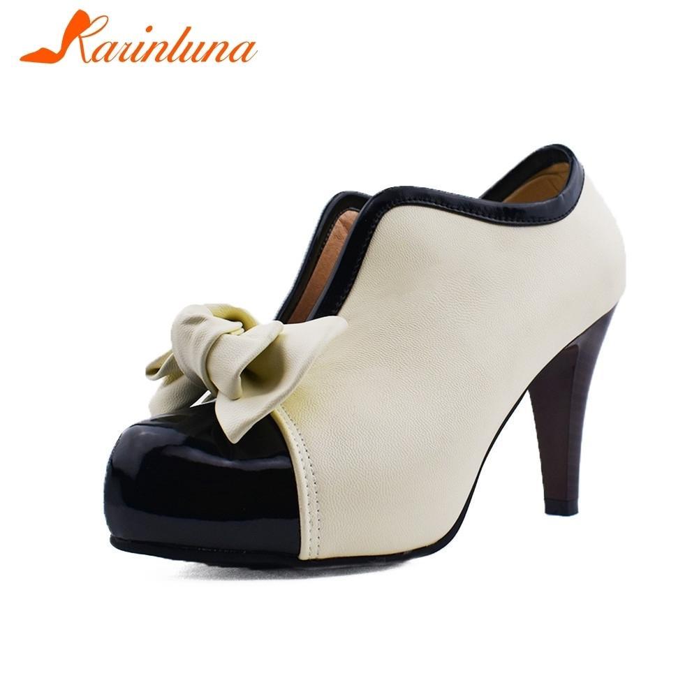 cf8189f206530 Compre Vestido Karinluna Fashion Plus Size 34 48 Tacones Altos Sweet Lady  Bowtie Pumps Plataforma Para Mujer Zapatos De Boda Al Por Mayor A  33.56  Del Ru44 ...