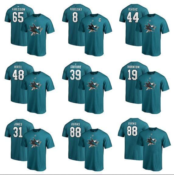 brand new 269fe 69cb3 Custom Men s San Jose Sharks Fanatics Branded Black Authentic Stack Logo  Name & Number T-Shirt