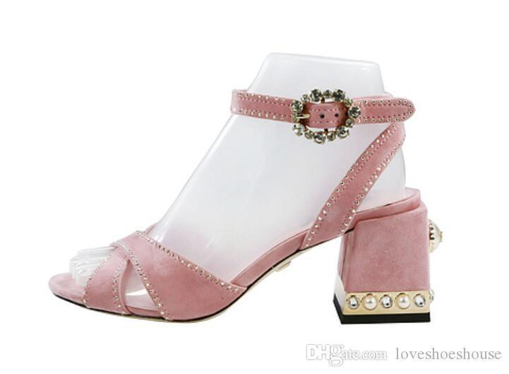544648302f3 Charm2019 Decent Women Diamond Sandals Celebrity Shoes Pink High Heels  Wedding Shoes Chunky Heel Ladies Party Shoes Vintage Sandals Sexy Shoes  Sandels From ...