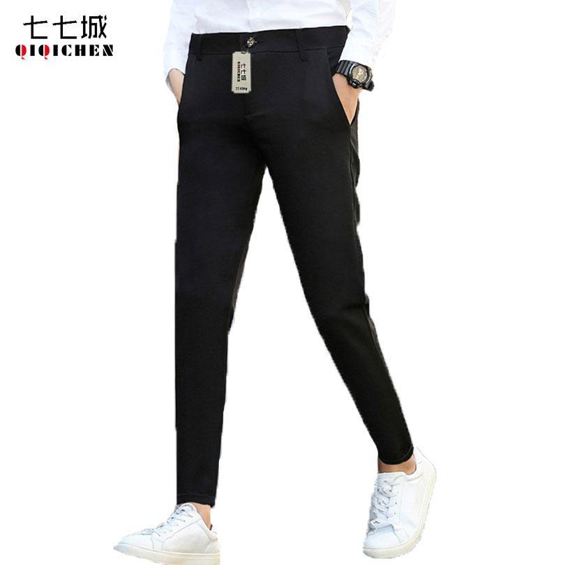 Compre Otoño 2019 Pantalones De Vestir Para Hombre Coreano Formal De Negocios  Casual Slim Fit Negro Gris Traje Flaco Pantalones Hombres Pantalones  Tobillo ... c265405d62a1
